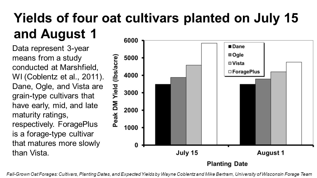 Yields of four oat cultivars planted on July 15 and August 1 Fall-Grown Oat Forages: Cultivars, Planting Dates, and Expected Yields by Wayne Coblentz
