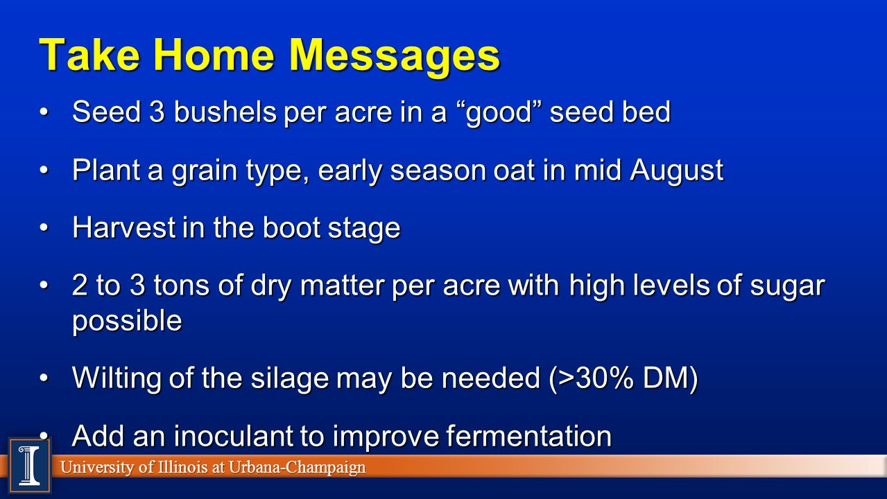 University of Illinois at Urbana-Champaign Take Home Messages Seed 3 bushels per acre in a good seed bedSeed 3 bushels per acre in a good seed bed Pla