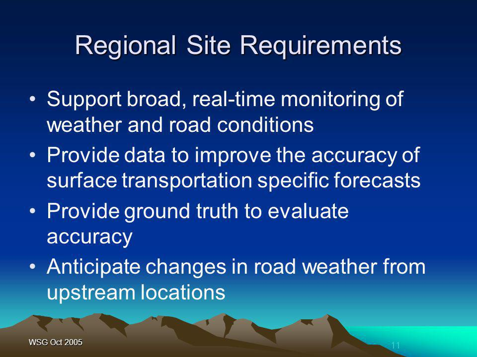 11 WSG Oct 2005 Regional Site Requirements Support broad, real-time monitoring of weather and road conditions Provide data to improve the accuracy of