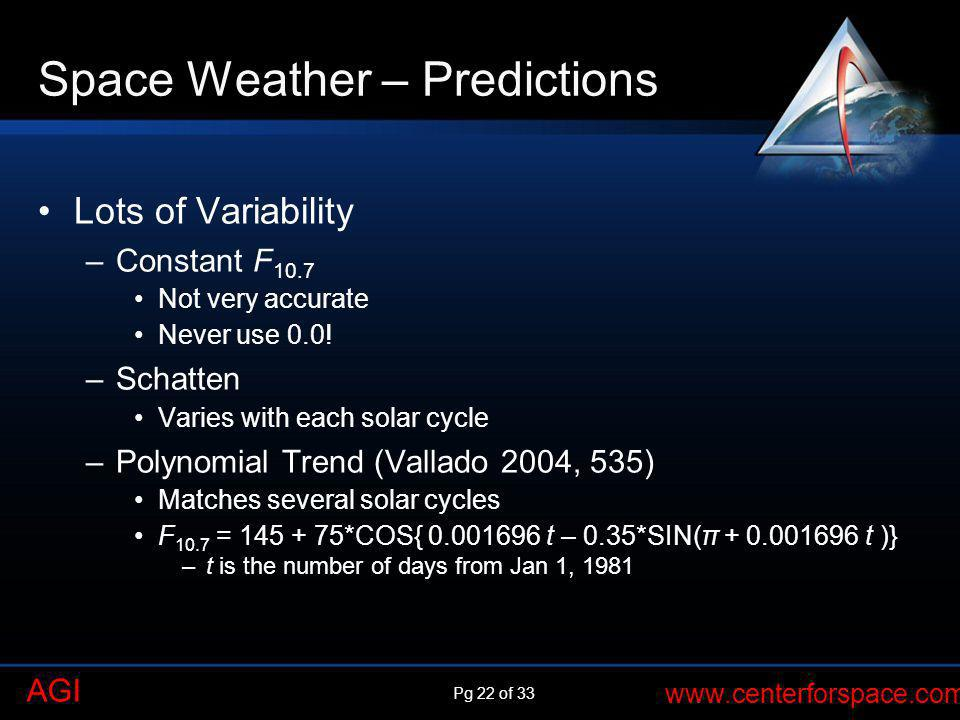 Pg 22 of 33 www.centerforspace.com AGI Space Weather – Predictions Lots of Variability –Constant F 10.7 Not very accurate Never use 0.0! –Schatten Var