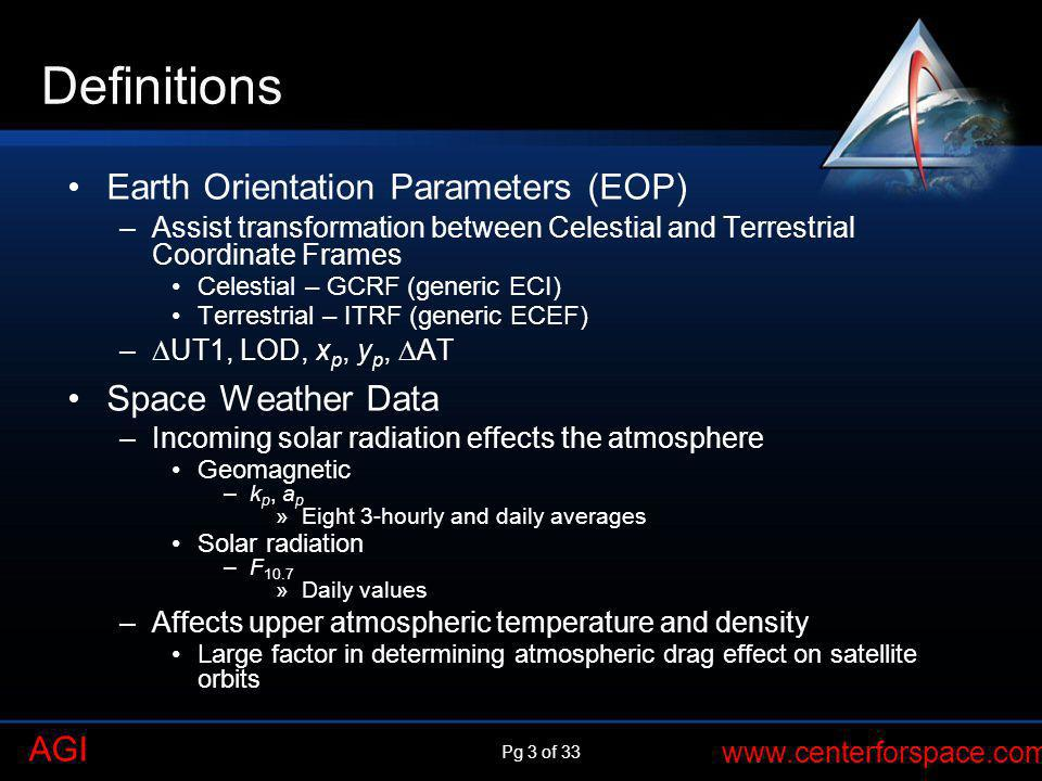 Pg 3 of 33 www.centerforspace.com AGI Definitions Earth Orientation Parameters (EOP) –Assist transformation between Celestial and Terrestrial Coordina