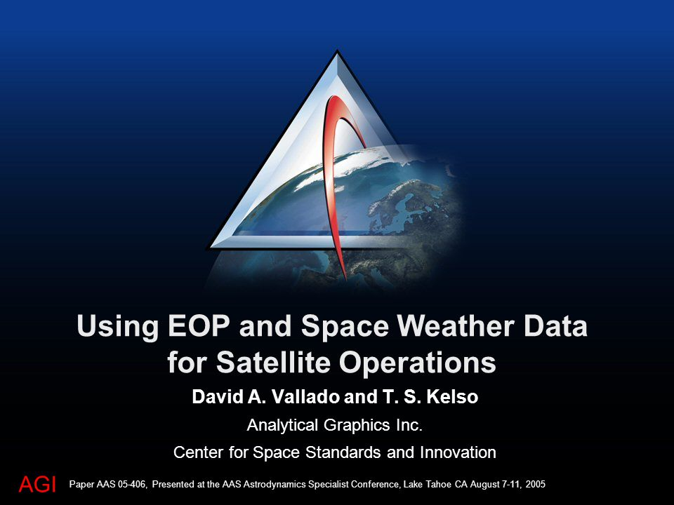 AGI Using EOP and Space Weather Data for Satellite Operations David A.