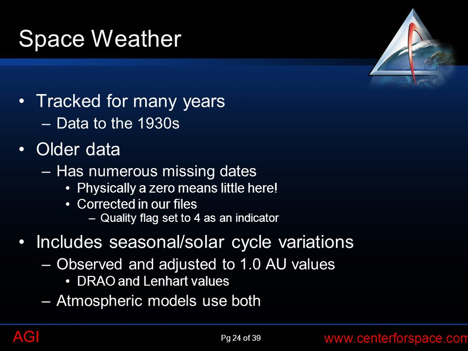 Pg 24 of 39 www.centerforspace.com AGI Space Weather Tracked for many years –Data to the 1930s Older data –Has numerous missing dates Physically a zero means little here.