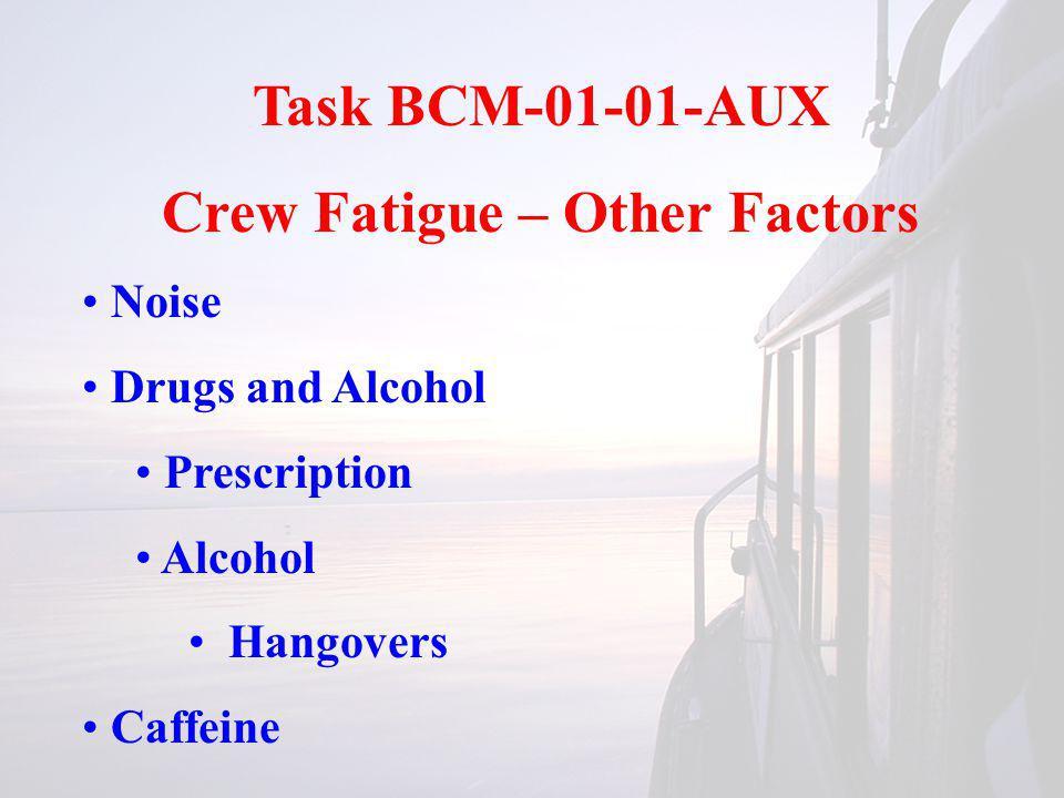 Task BCM-01-01-AUX Crew Fatigue – Other Factors Noise Drugs and Alcohol Prescription Alcohol Hangovers Caffeine
