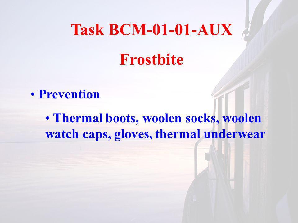 Task BCM-01-01-AUX Frostbite Prevention Thermal boots, woolen socks, woolen watch caps, gloves, thermal underwear