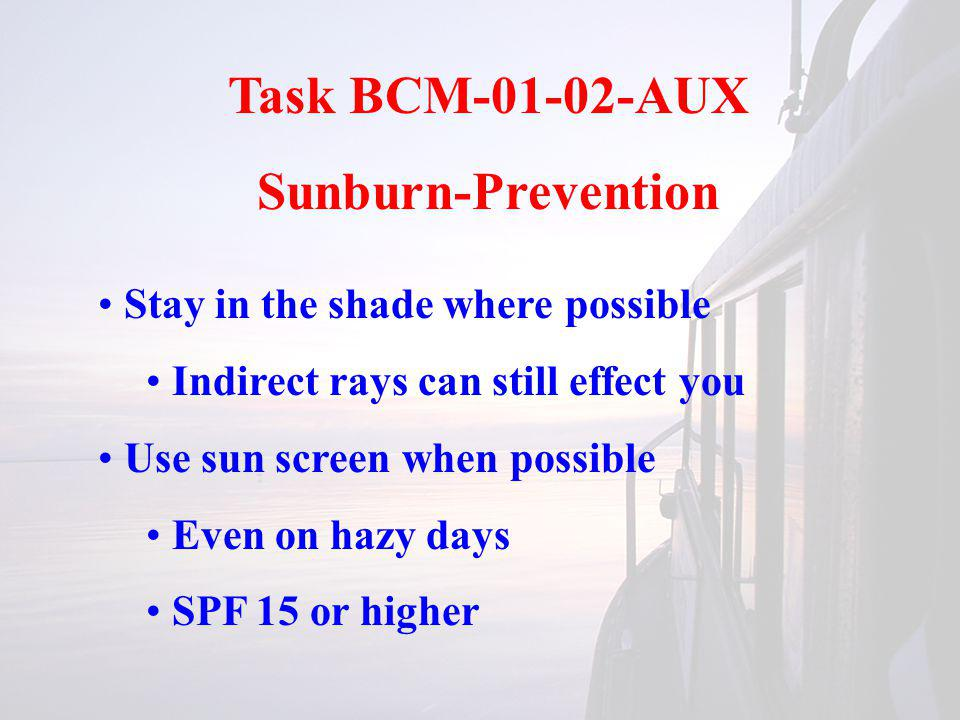 Task BCM-01-02-AUX Sunburn-Prevention Stay in the shade where possible Indirect rays can still effect you Use sun screen when possible Even on hazy days SPF 15 or higher