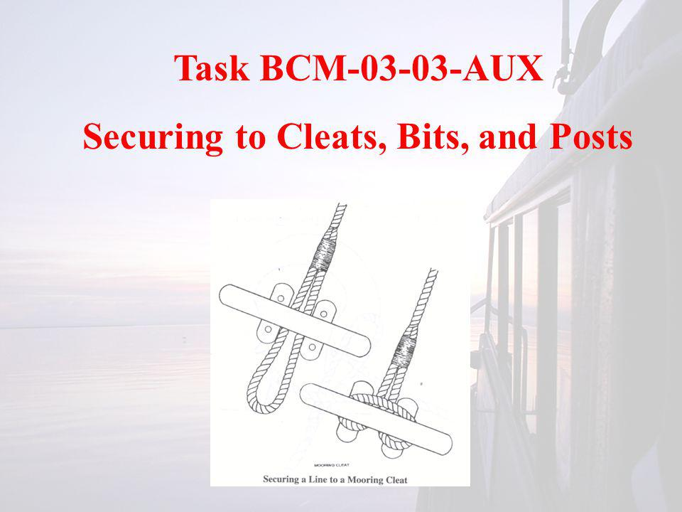 Task BCM-03-03-AUX Securing to Cleats, Bits, and Posts