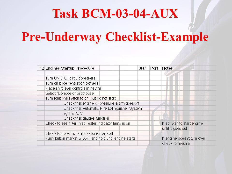 Task BCM-03-04-AUX Pre-Underway Checklist-Example