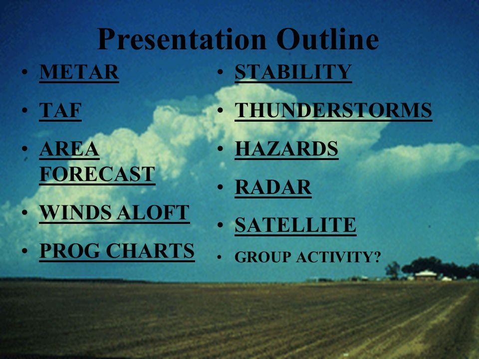 Presentation Outline METAR TAF AREA FORECASTAREA FORECAST WINDS ALOFT PROG CHARTS STABILITY THUNDERSTORMS HAZARDS RADAR SATELLITE GROUP ACTIVITY?