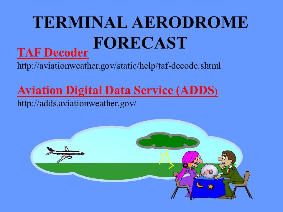 TAF Decoder http://aviationweather.gov/static/help/taf-decode.shtml Aviation Digital Data Service (ADDS ) http://adds.aviationweather.gov/ TERMINAL AE