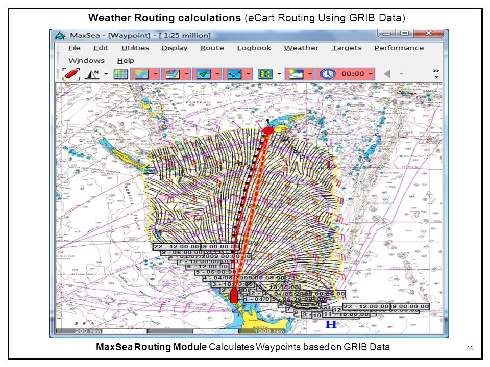 38 MaxSea Routing Module Calculates Waypoints based on GRIB Data Weather Routing calculations (eCart Routing Using GRIB Data)