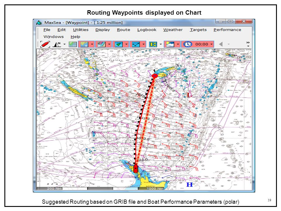 39 Routing Waypoints displayed on Chart Suggested Routing based on GRIB file and Boat Performance Parameters (polar)