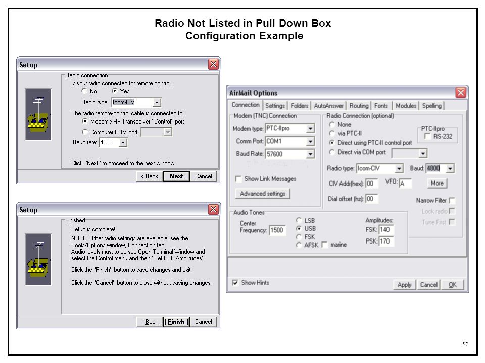 57 Radio Not Listed in Pull Down Box Configuration Example