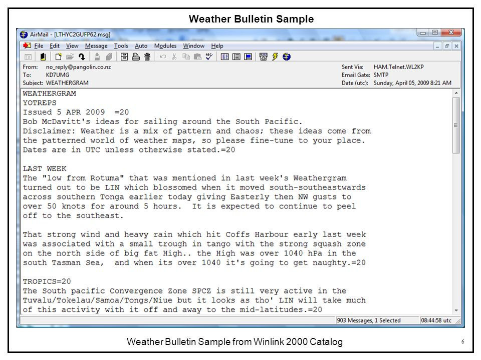 6 Weather Bulletin Sample Weather Bulletin Sample from Winlink 2000 Catalog