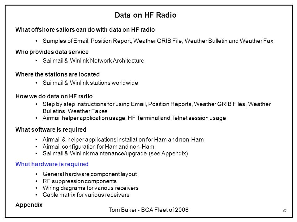 65 Data on HF Radio What offshore sailors can do with data on HF radio Samples of Email, Position Report, Weather GRIB File, Weather Bulletin and Weat