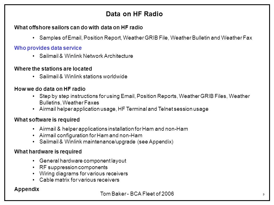 9 Data on HF Radio What offshore sailors can do with data on HF radio Samples of Email, Position Report, Weather GRIB File, Weather Bulletin and Weath