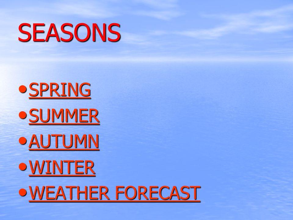 SEASONS SPRING SPRING SPRING SUMMER SUMMER SUMMER AUTUMN AUTUMN AUTUMN WINTER WINTER WINTER WEATHER FORECAST WEATHER FORECAST WEATHER FORECAST WEATHER FORECAST