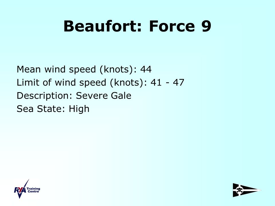 Beaufort: Force 9 Mean wind speed (knots): 44 Limit of wind speed (knots): 41 - 47 Description: Severe Gale Sea State: High