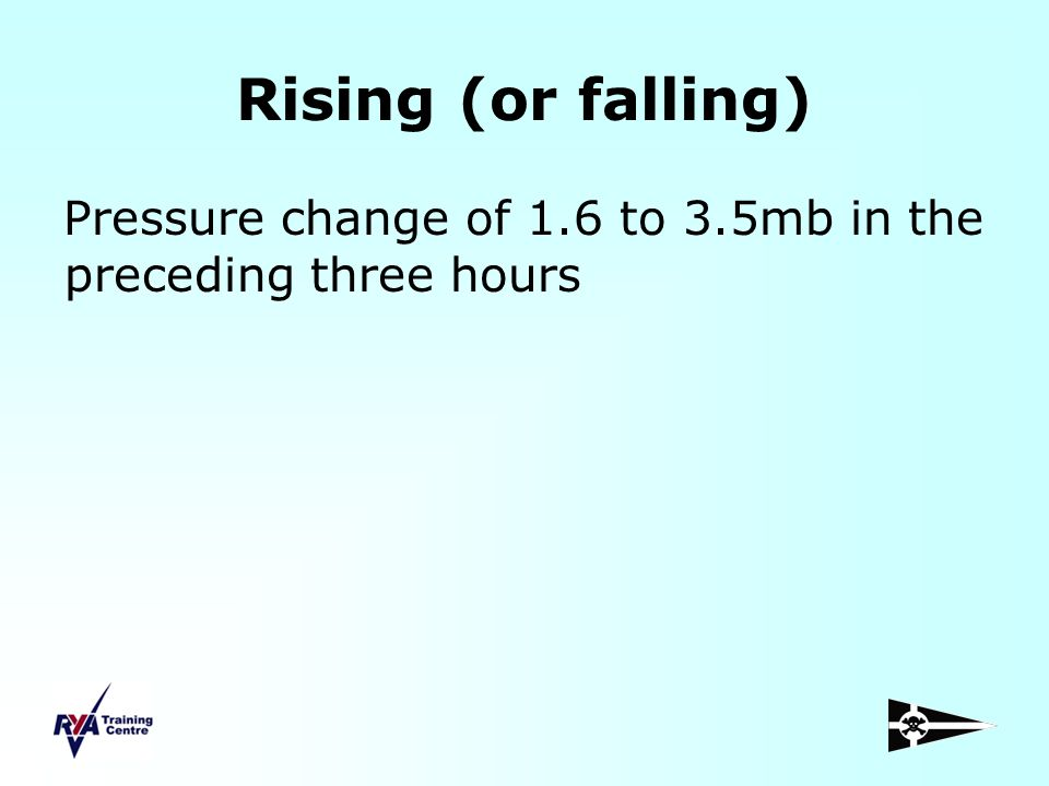Rising (or falling) Pressure change of 1.6 to 3.5mb in the preceding three hours
