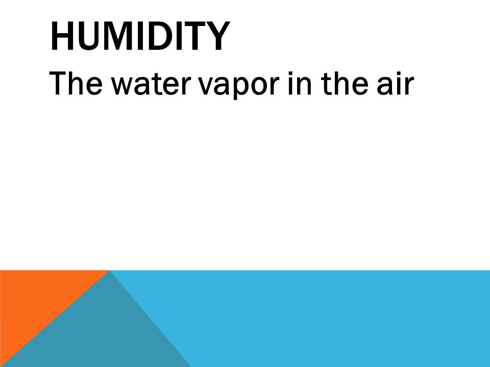 HUMIDITY The water vapor in the air