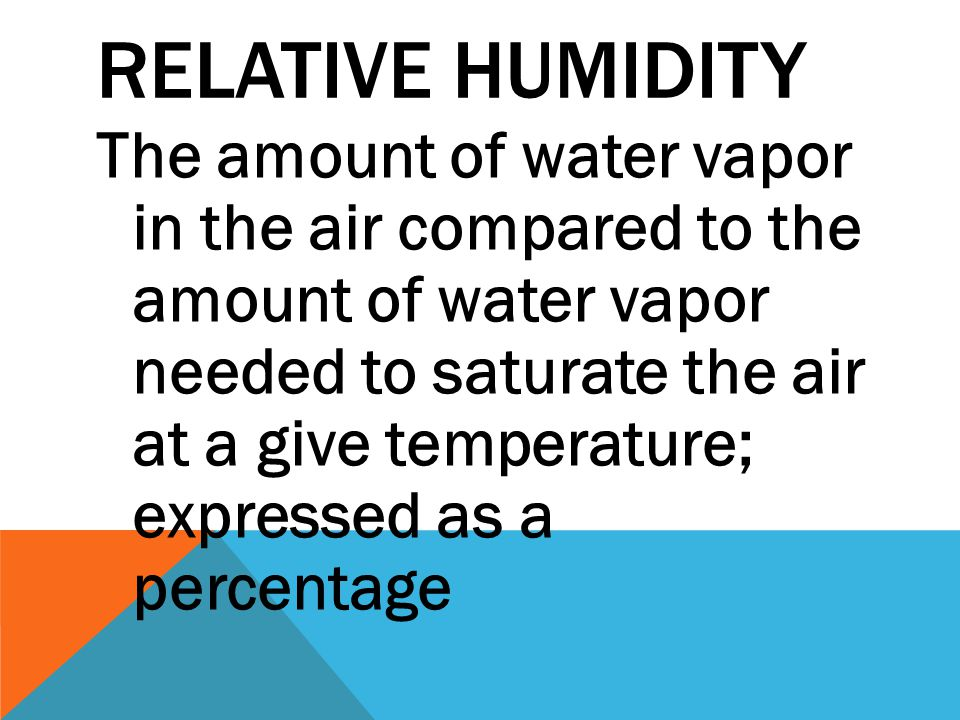 RELATIVE HUMIDITY The amount of water vapor in the air compared to the amount of water vapor needed to saturate the air at a give temperature; express