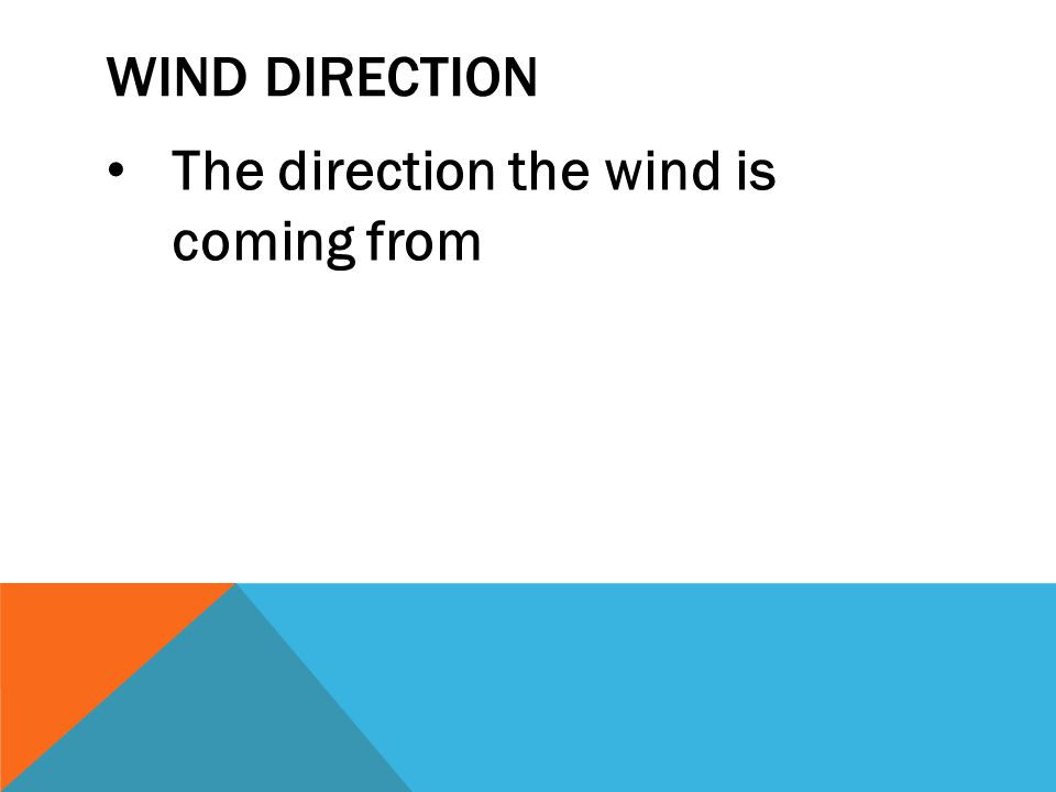 WIND DIRECTION The direction the wind is coming from