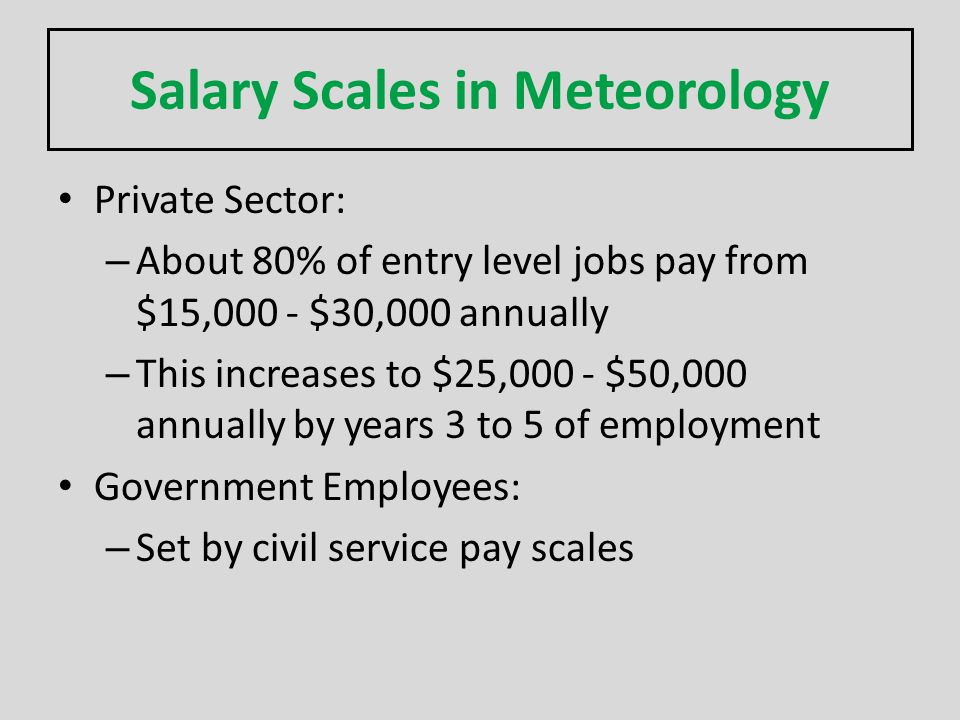 Salary Scales in Meteorology Private Sector: – About 80% of entry level jobs pay from $15,000 - $30,000 annually – This increases to $25,000 - $50,000