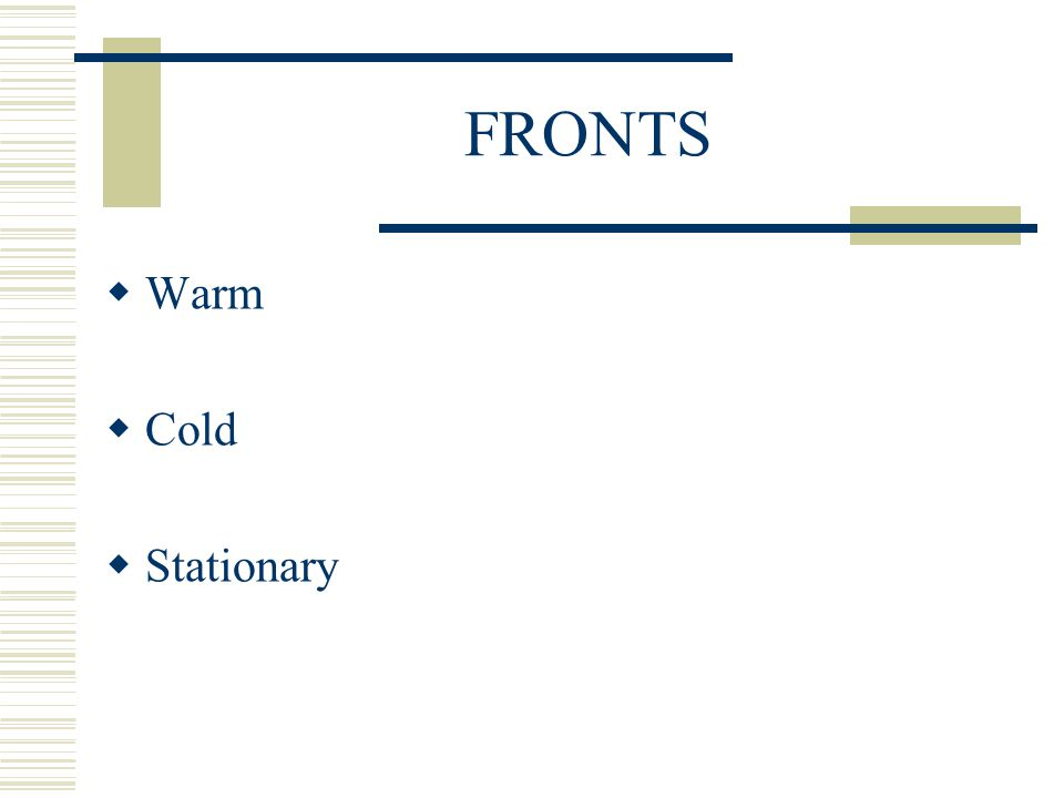 FRONTS Warm Cold Stationary