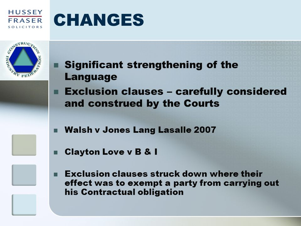 CHANGES Significant strengthening of the Language Exclusion clauses – carefully considered and construed by the Courts Walsh v Jones Lang Lasalle 2007