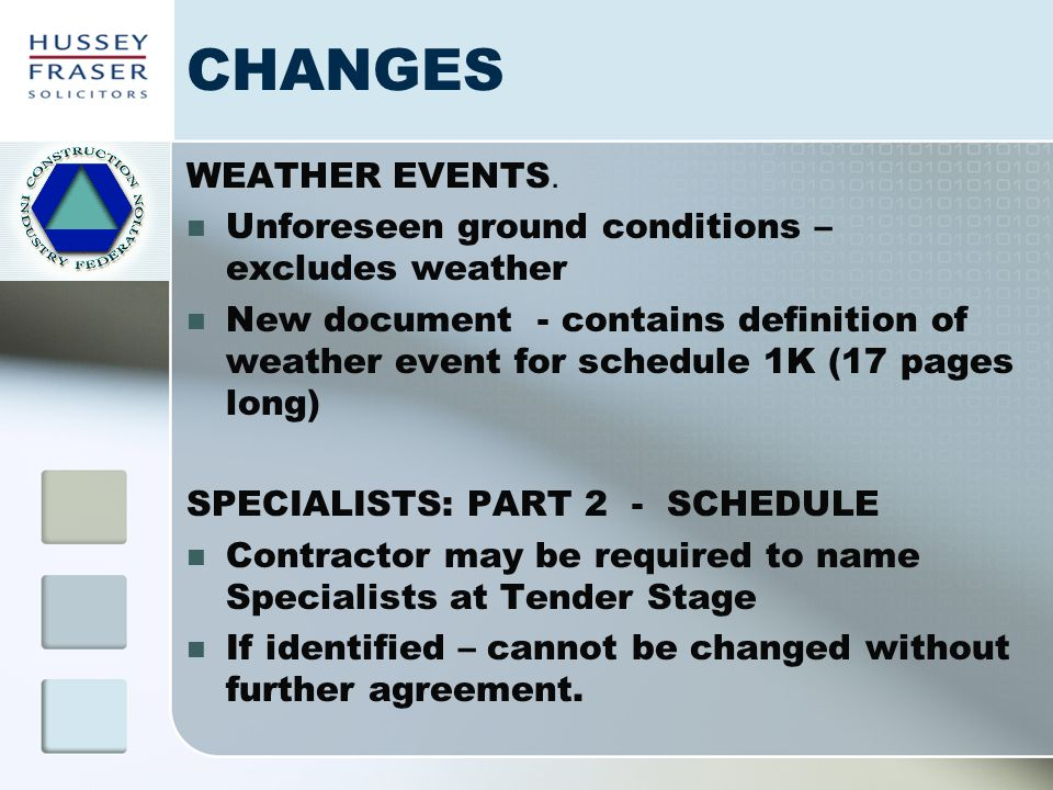 CHANGES WEATHER EVENTS. Unforeseen ground conditions – excludes weather New document - contains definition of weather event for schedule 1K (17 pages