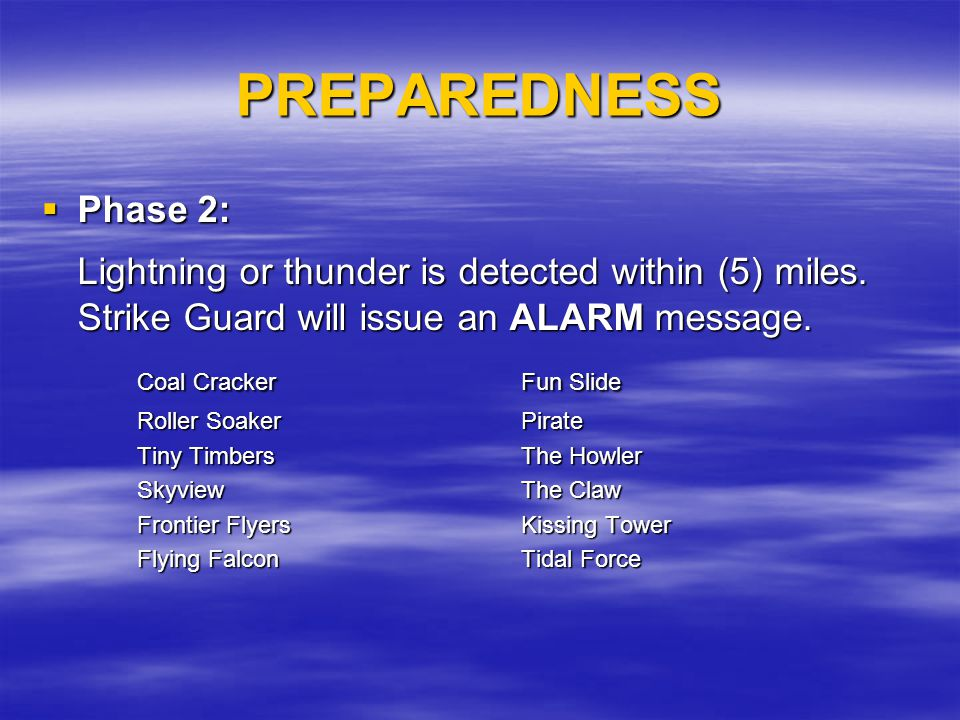 PREPAREDNESS Phase 2: Phase 2: Lightning or thunder is detected within (5) miles. Strike Guard will issue an ALARM message. Coal CrackerFun Slide Roll