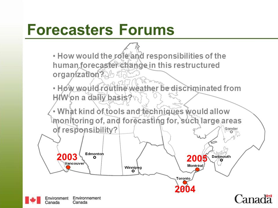 Forecasters Forums 2003 2004 2005 How would the role and responsibilities of the human forecaster change in this restructured organization.