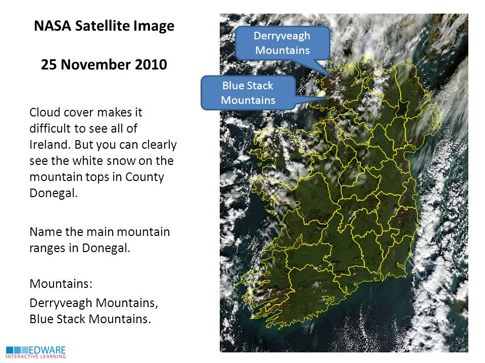 NASA Satellite Image 25 November 2010 Cloud cover makes it difficult to see all of Ireland.