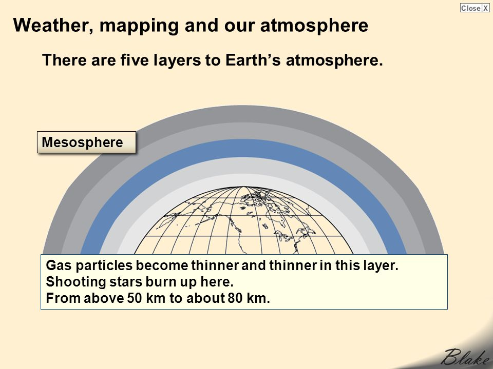 Weather, mapping and our atmosphere There are five layers to Earths atmosphere. Gas particles become thinner and thinner in this layer. Shooting stars