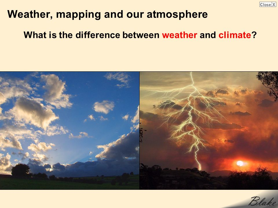 Weather, mapping and our atmosphere What is the difference between weather and climate?