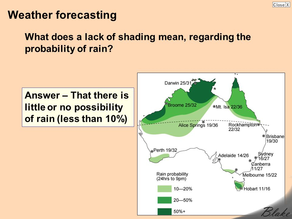 Weather forecasting What does a lack of shading mean, regarding the probability of rain? Answer – That there is little or no possibility of rain (less