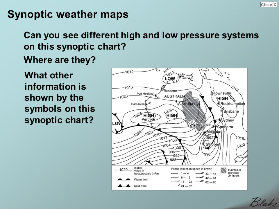 Synoptic weather maps Can you see different high and low pressure systems on this synoptic chart? Where are they? What other information is shown by t