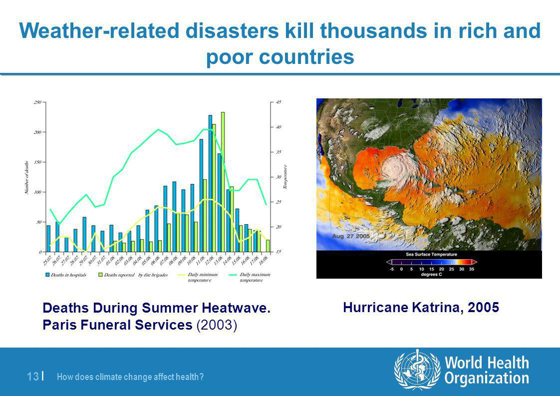 13 | Deaths During Summer Heatwave. Paris Funeral Services (2003) Hurricane Katrina, 2005 Weather-related disasters kill thousands in rich and poor co