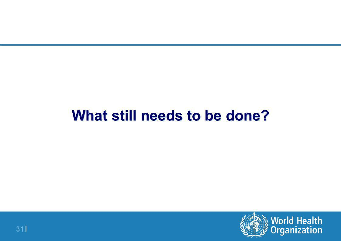 31 | What still needs to be done?