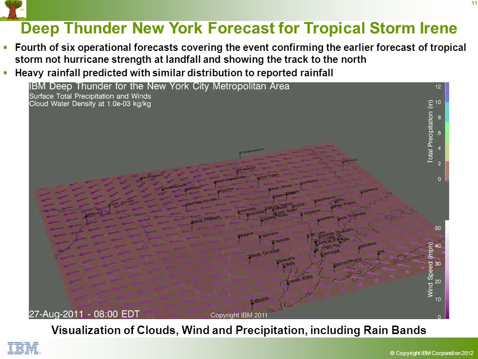 © Copyright IBM Corporation 2012 11 Deep Thunder New York Forecast for Tropical Storm Irene Visualization of Clouds, Wind and Precipitation, including