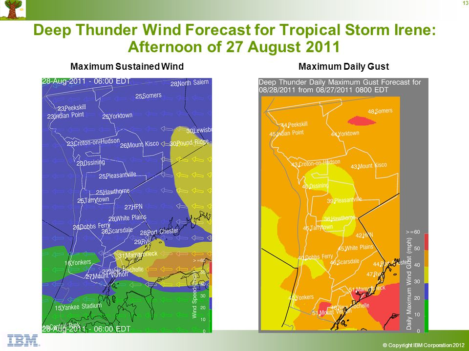 © Copyright IBM Corporation 2012 13 Deep Thunder Wind Forecast for Tropical Storm Irene: Afternoon of 27 August 2011 Maximum Sustained WindMaximum Dai