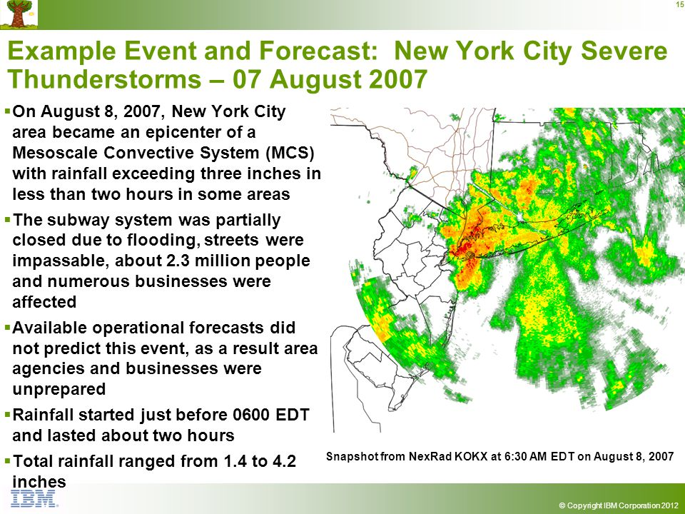 © Copyright IBM Corporation 2012 15 Example Event and Forecast: New York City Severe Thunderstorms – 07 August 2007 On August 8, 2007, New York City area became an epicenter of a Mesoscale Convective System (MCS) with rainfall exceeding three inches in less than two hours in some areas The subway system was partially closed due to flooding, streets were impassable, about 2.3 million people and numerous businesses were affected Available operational forecasts did not predict this event, as a result area agencies and businesses were unprepared Rainfall started just before 0600 EDT and lasted about two hours Total rainfall ranged from 1.4 to 4.2 inches Snapshot from NexRad KOKX at 6:30 AM EDT on August 8, 2007