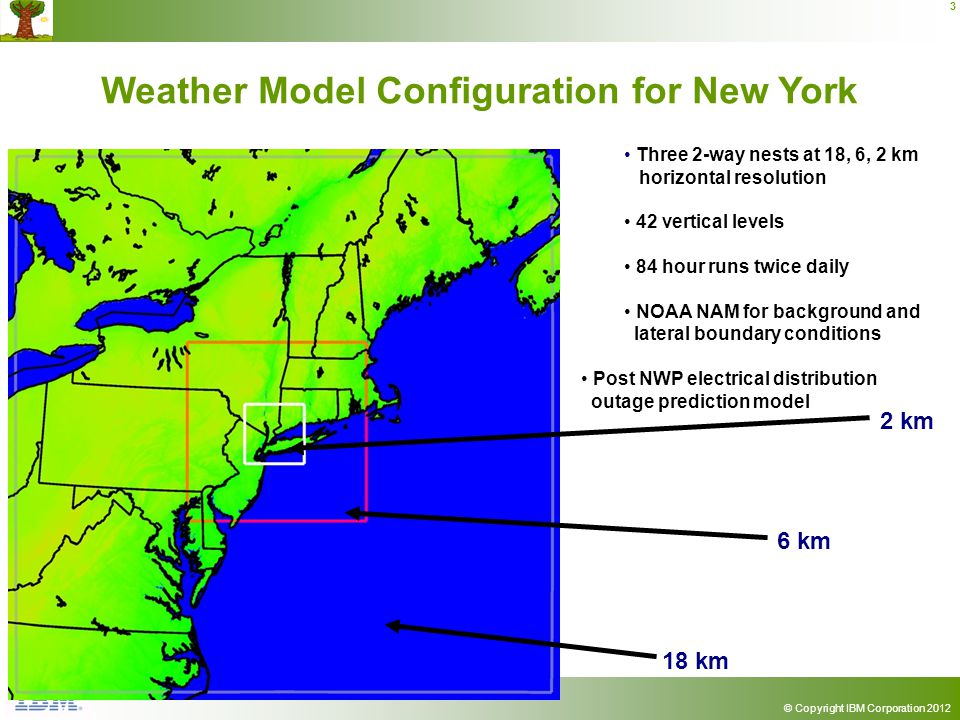 © Copyright IBM Corporation 2012 3 Weather Model Configuration for New York 2 km 6 km 18 km Three 2-way nests at 18, 6, 2 km horizontal resolution 42 vertical levels 84 hour runs twice daily NOAA NAM for background and lateral boundary conditions Post NWP electrical distribution outage prediction model