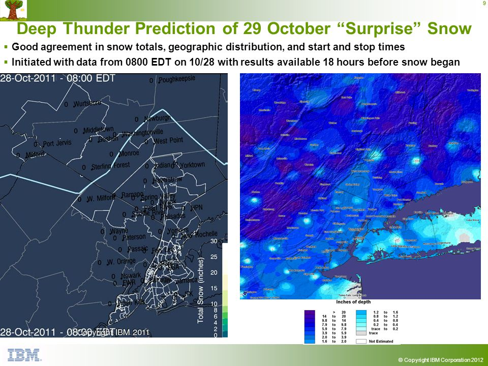 © Copyright IBM Corporation 2012 9 Deep Thunder Prediction of 29 October Surprise Snow Good agreement in snow totals, geographic distribution, and start and stop times Initiated with data from 0800 EDT on 10/28 with results available 18 hours before snow began