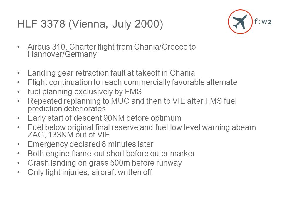 Airbus 310, Charter flight from Chania/Greece to Hannover/Germany Landing gear retraction fault at takeoff in Chania Flight continuation to reach commercially favorable alternate fuel planning exclusively by FMS Repeated replanning to MUC and then to VIE after FMS fuel prediction deteriorates Early start of descent 90NM before optimum Fuel below original final reserve and fuel low level warning abeam ZAG, 133NM out of VIE Emergency declared 8 minutes later Both engine flame-out short before outer marker Crash landing on grass 500m before runway Only light injuries, aircraft written off HLF 3378 (Vienna, July 2000)