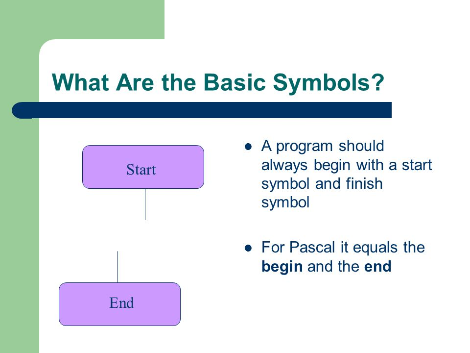 What Are the Basic Symbols? A program should always begin with a start symbol and finish symbol For Pascal it equals the begin and the end Start End