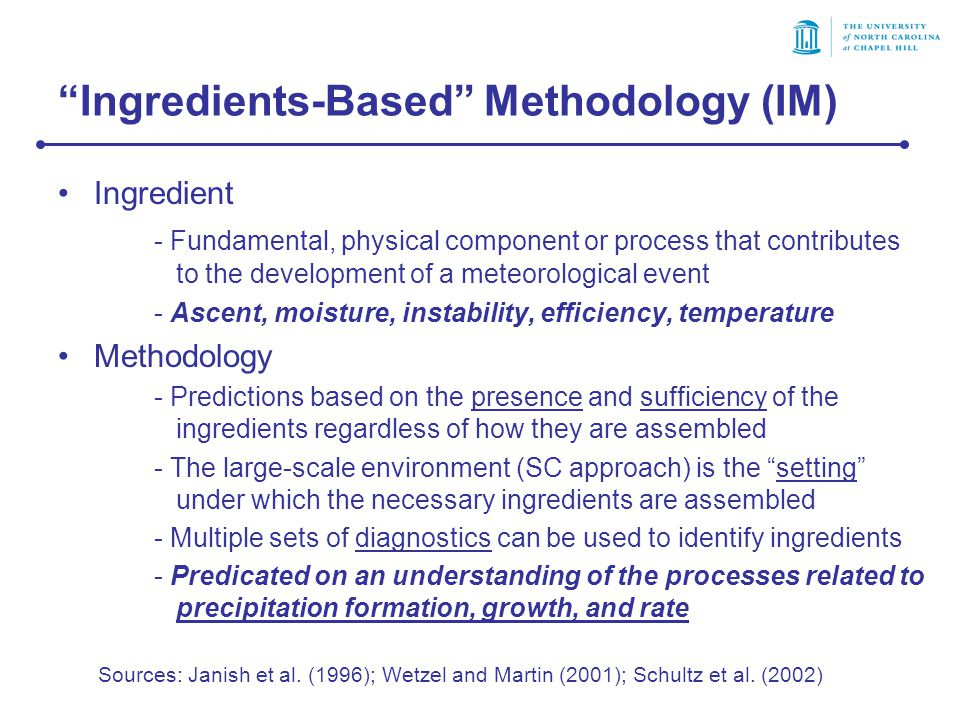 Ingredients-Based Methodology (IM) Ingredient - Fundamental, physical component or process that contributes to the development of a meteorological event - Ascent, moisture, instability, efficiency, temperature Methodology - Predictions based on the presence and sufficiency of the ingredients regardless of how they are assembled - The large-scale environment (SC approach) is the setting under which the necessary ingredients are assembled - Multiple sets of diagnostics can be used to identify ingredients - Predicated on an understanding of the processes related to precipitation formation, growth, and rate Sources: Janish et al.
