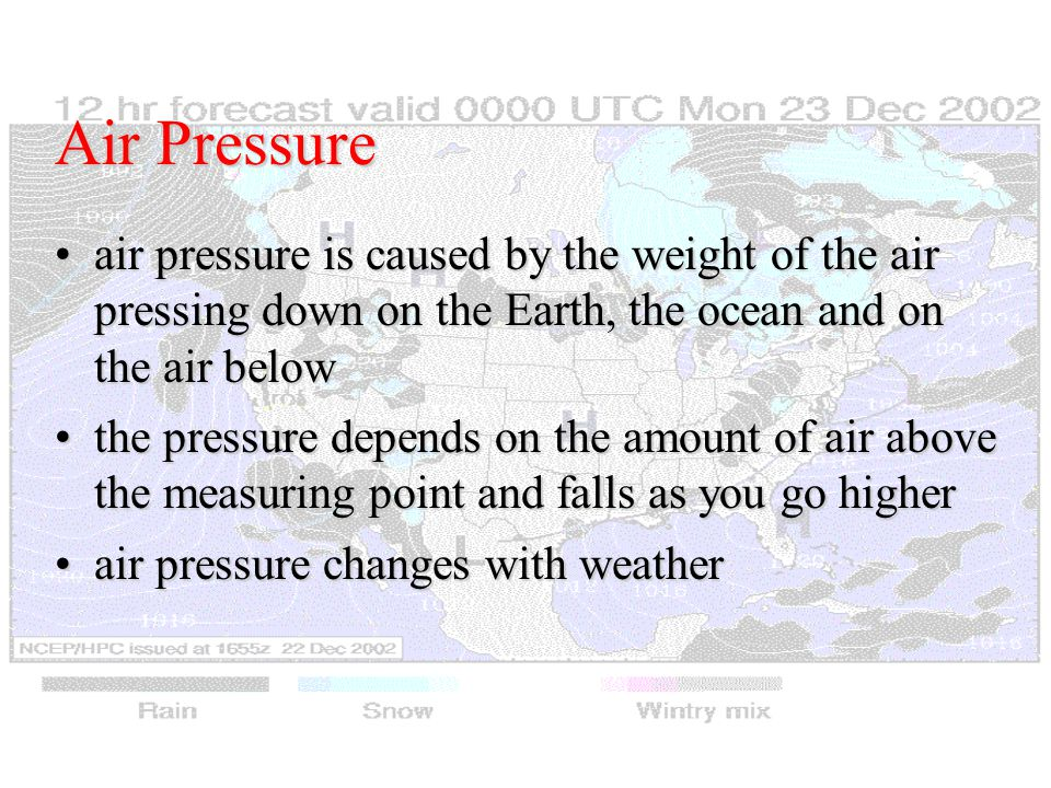 Air Pressure air pressure is caused by the weight of the air pressing down on the Earth, the ocean and on the air belowair pressure is caused by the weight of the air pressing down on the Earth, the ocean and on the air below the pressure depends on the amount of air above the measuring point and falls as you go higherthe pressure depends on the amount of air above the measuring point and falls as you go higher air pressure changes with weatherair pressure changes with weather