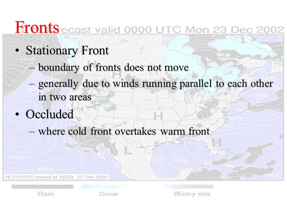Fronts Stationary FrontStationary Front –boundary of fronts does not move –generally due to winds running parallel to each other in two areas OccludedOccluded –where cold front overtakes warm front