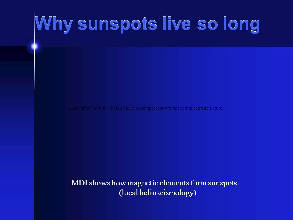 Why sunspots live so long MDI shows how magnetic elements form sunspots (local helioseismology)